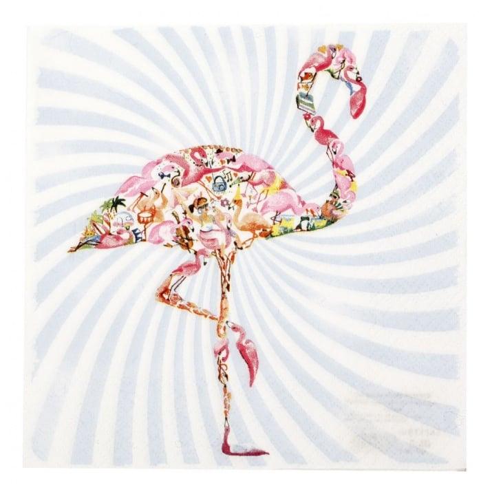 Салфетка HOME FASHION 33x33см трипластова Flamingo -1 брой
