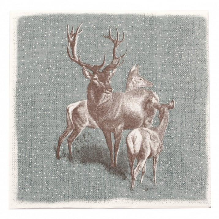 Салфетка HOME FASHION 33x33см трипластова Deer Family -1 брой