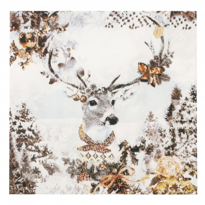 Салфетка HOME FASHION 33x33см трипластова Dressed Deer -1 брой