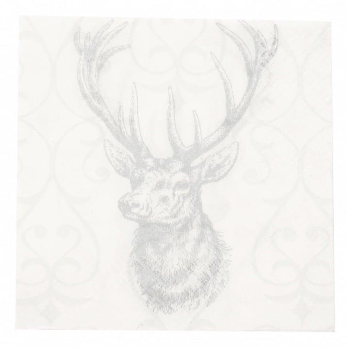 Салфетка HOME FASHION 33x33см трипластова Deer grey/silver -1 брой