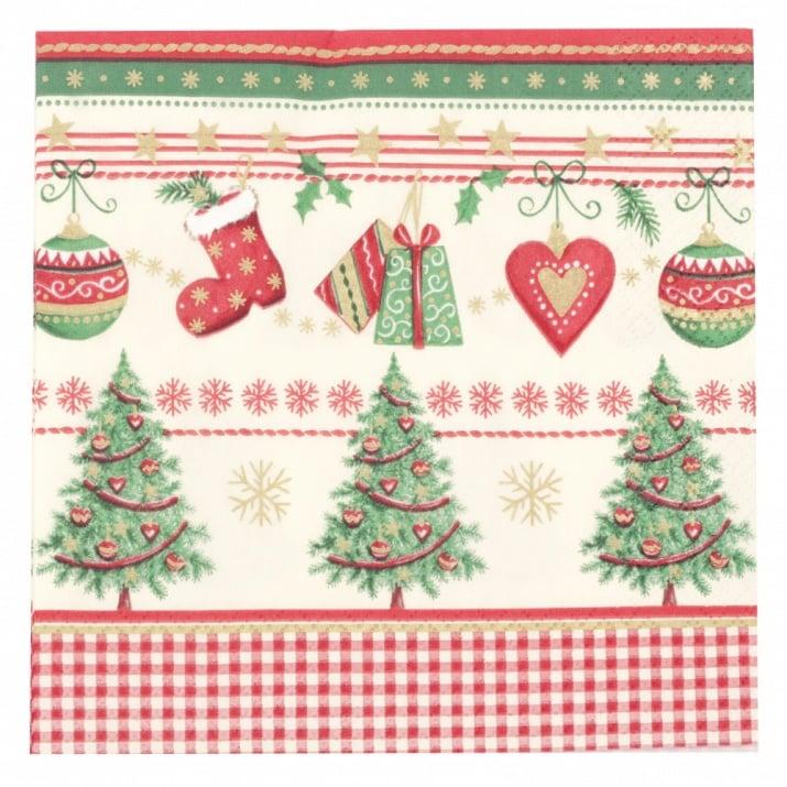 Салфетка HOME FASHION 33x33см трипластова Icy Traditional Christmas -1 брой