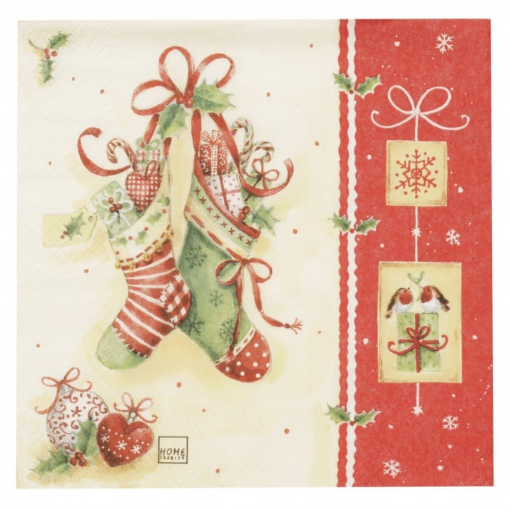 Салфетка HOME FASHION 33x33см трипластова Icy X-Mas Stockings -1 брой