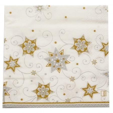 Салфетка HOME FASHION 33x33см трипластова Stars and Swirls silver -1 брой