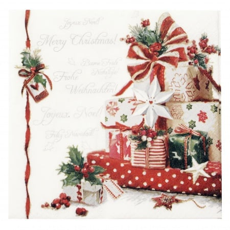 Салфетка HOME FASHION 33x33см трипластова Christmas Presents -1 брой