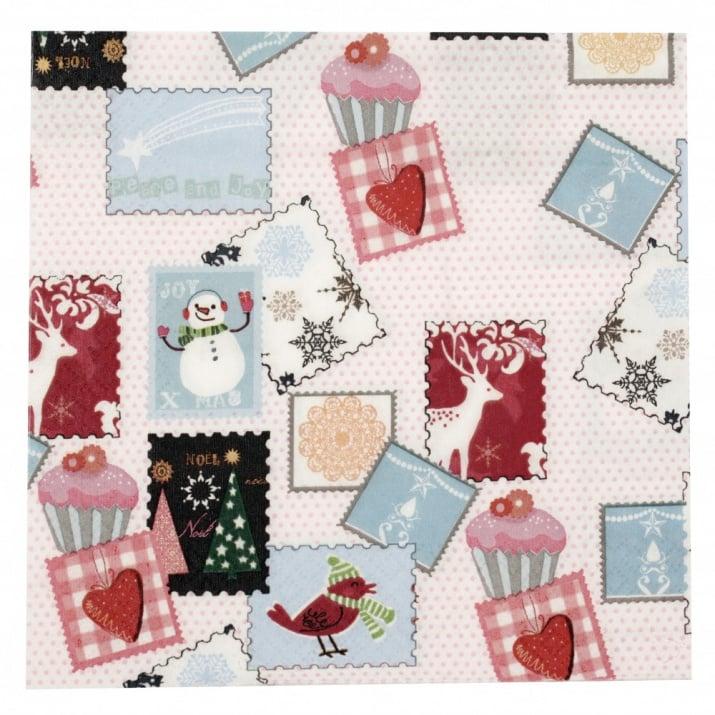 Салфетка HOME FASHION 33x33см трипластова Winter Stamps -1 брой