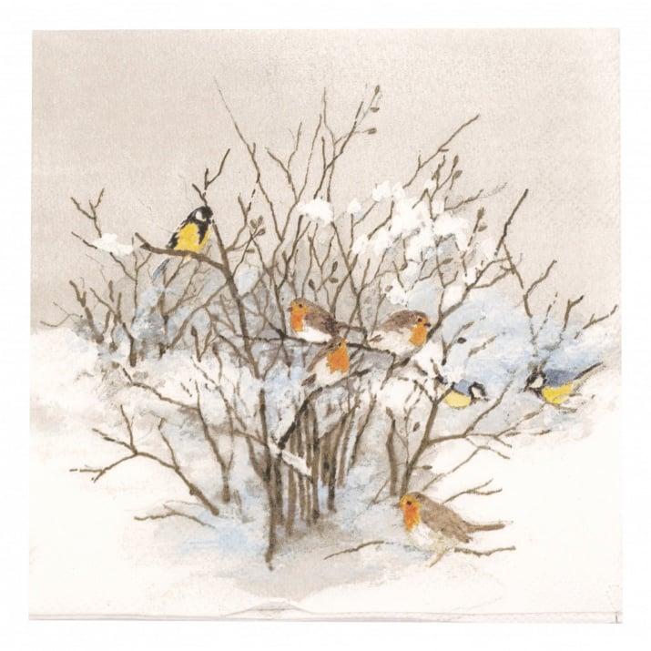 Салфетка за декупаж Ambiente 33x33 см трипластова Birds on Branches -1 брой