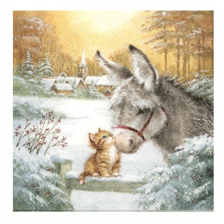 Салфетка за декупаж Ambiente 25x25 см трипластова Donkey and Kitten -1 брой