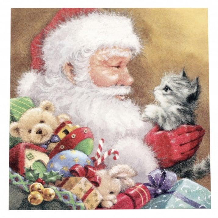 Салфетка ti-flair 33x33см трипластова Santa with Kitten -1 брой