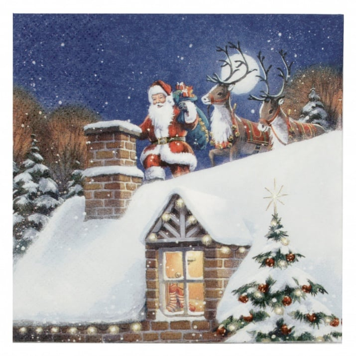 Салфетка ti-flair 33x33см трипластова Santa on Rooftop with Reindeer -1 брой
