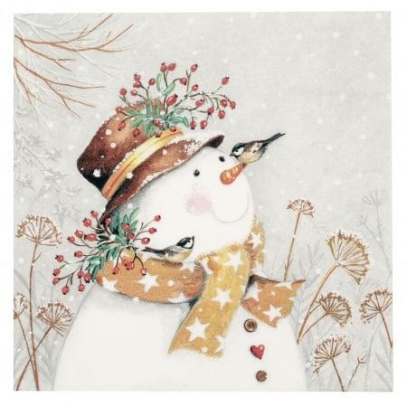 Салфетка ti-flair 33x33см трипластова Snowman with Golden Scarf -1 брой