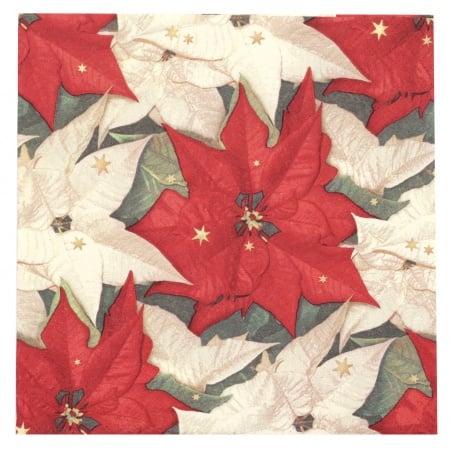 Салфетка ti-flair 33x33см трипластова Poinsettia with Stars -1 брой