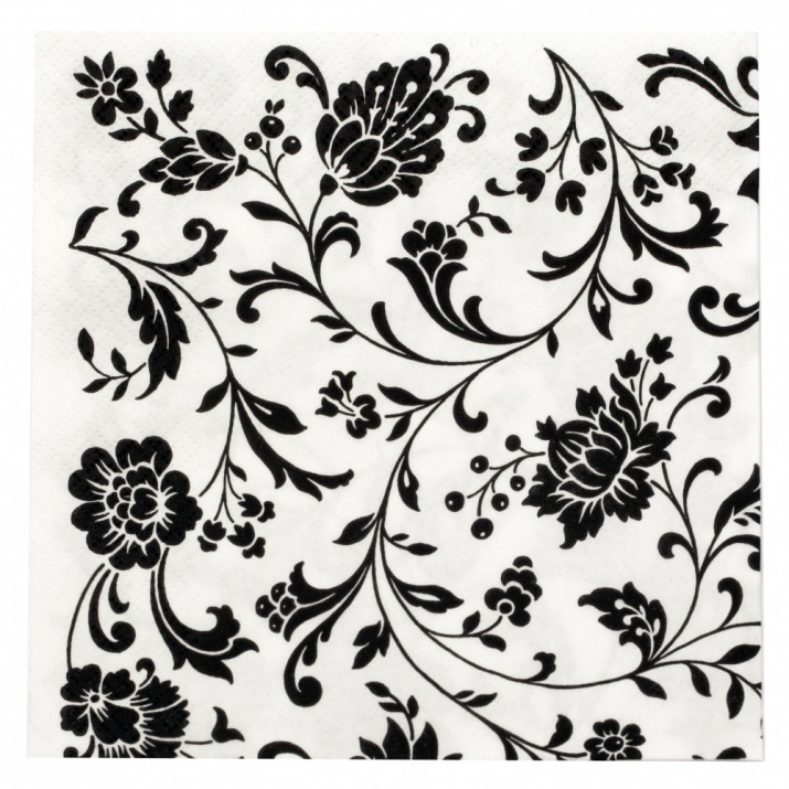 Салфетка ti-flair 33x33см трипластова Arabesque White white-black -1 брой