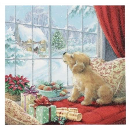 Салфетка ti-flair 33x33см трипластова Puppy on Window Seat -1 брой