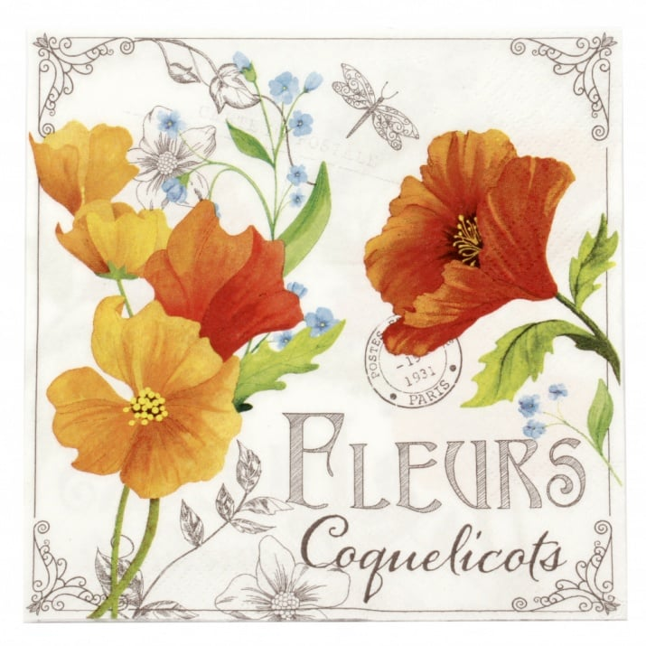 Салфетка ti-flair 33x33см трипластова Fleurs de Coquelicots -1 брой