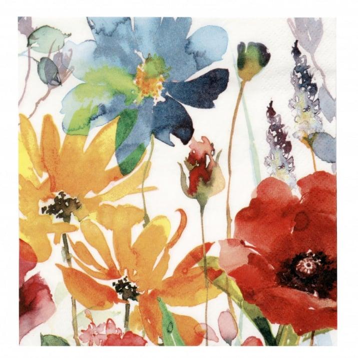 Салфетка ti-flair 33x33см трипластова Flores Rojas y Amarillas -1 брой
