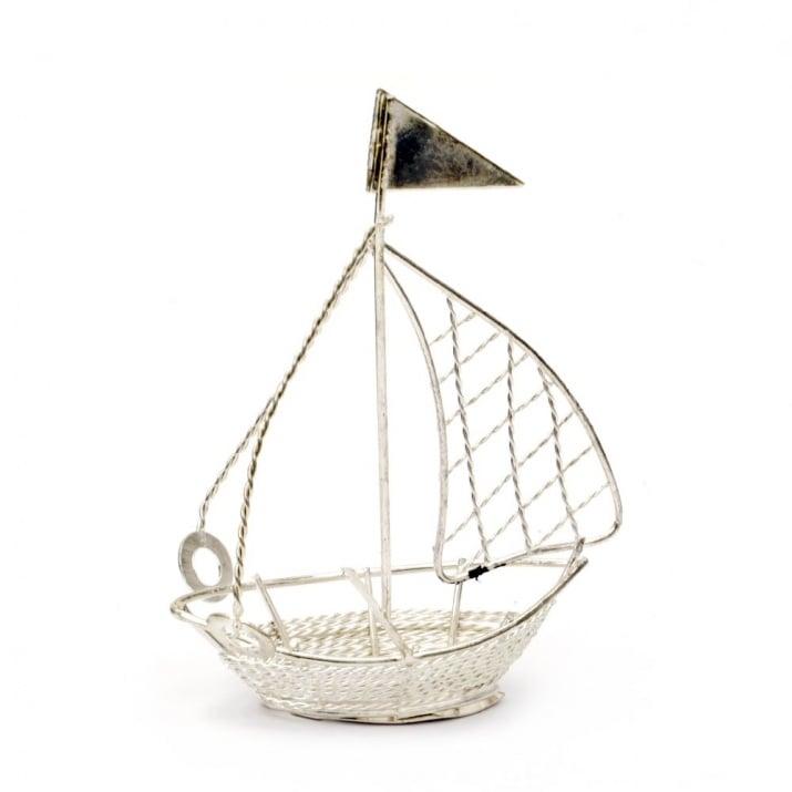 Лодка метална 75x105x35 мм цвят сребро