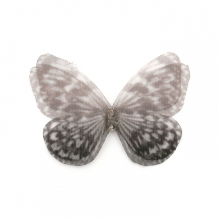 Пеперуда органза с кристал 30x25 мм -5 броя