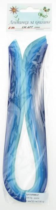 Ленти за квилинг (хартия 130 гр) 6 мм/ 50 см - 5 цвята синя гама -100 бр