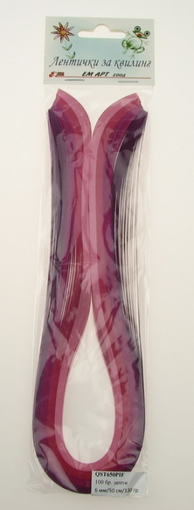 Ленти за квилинг (хартия 130 гр) 6 мм/ 50 см - 4 цвята розова гама -100 бр