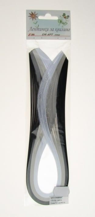 Ленти за квилинг (хартия 90 гр) 3 мм/ 50см -3 цвята черно-бяло - 150 бр