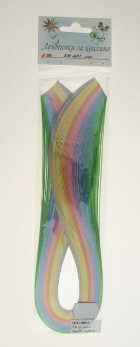 Ленти за квилинг (хартия 90 гр) 3мм/ 50см -8 пастелни цвята - 200бр