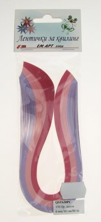 Ленти за квилинг (хартия 90 гр) 6мм/ 30см - 3 цвята розова гама - 150бр