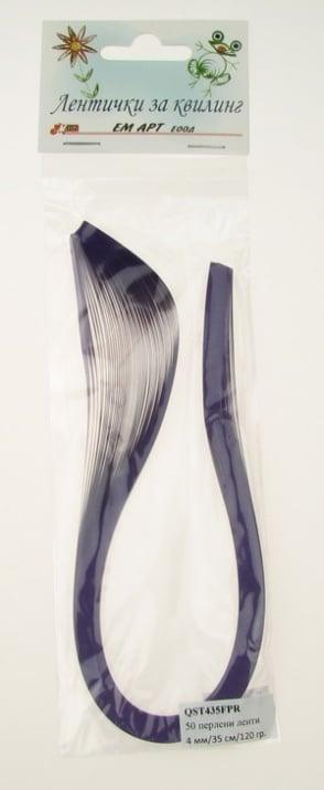 Ленти за квилинг перлени (хартия 120 гр) 4 мм/ 35 см Fabriano, Purple Rain, цвят лилав -50 бр