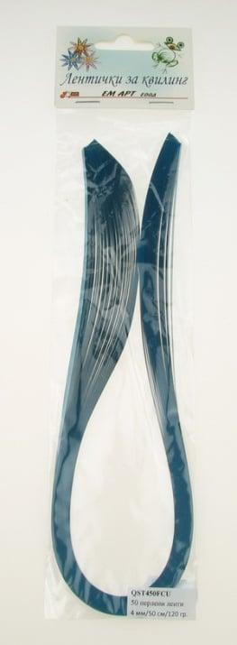 Ленти за квилинг перлени (хартия 120 гр) 4 мм/ 50 см Fabriano, Curacao, цвят тюркоаз -50 бр.