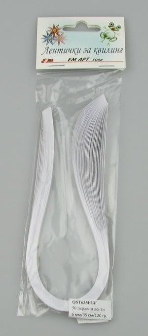 Ленти за квилинг перлени (хартия 120 гр) 6 мм/ 35 см Fabriano, Gin Fiz, цвят бяло -50 бр.