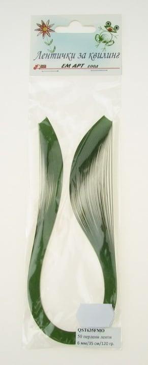 Ленти за квилинг перлени (хартия 120 гр) 6 мм/ 35 см Fabriano, Mojito, цвят зелен -50 бр