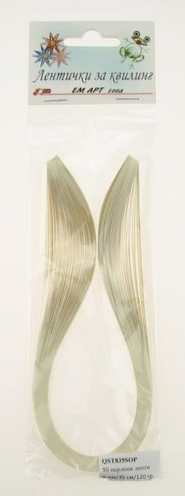 Ленти за квилинг перлени (хартия 120 гр) 8 мм/ 35 см Stardream Опал -50бр