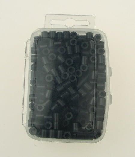 Мъниста за мозайка, фигурки и гривни 5x5 мм плътни черни ~500 броя в кутия