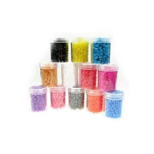Мъниста за мозайка, фигурки и гривни 5x5 мм плътни АСОРТЕ цветове ~14 грама ~260 броя в бурканче