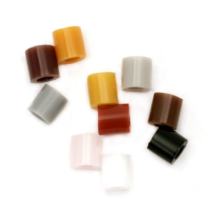 Мъниста за мозайка, фигурки и гривни 5x5 мм дупка 3 мм плътни 10 цвята в кутия ~900 броя