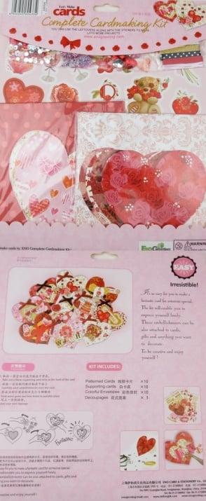 Комплект за декорация на 10 броя картички сърце 11.2x10.9 см Свети Валентин