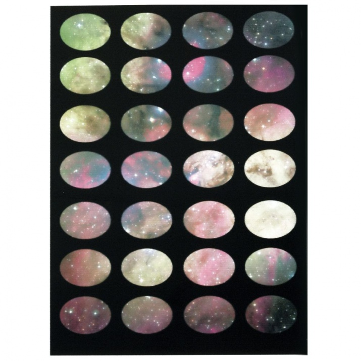 Лист хартия незалепващ за основа на кабошон 18x13 мм овал 28 броя звезди