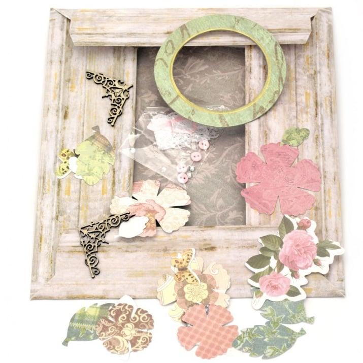 Комплект за направа и декорация на картонена рамка кръгла за снимка 8.1 см