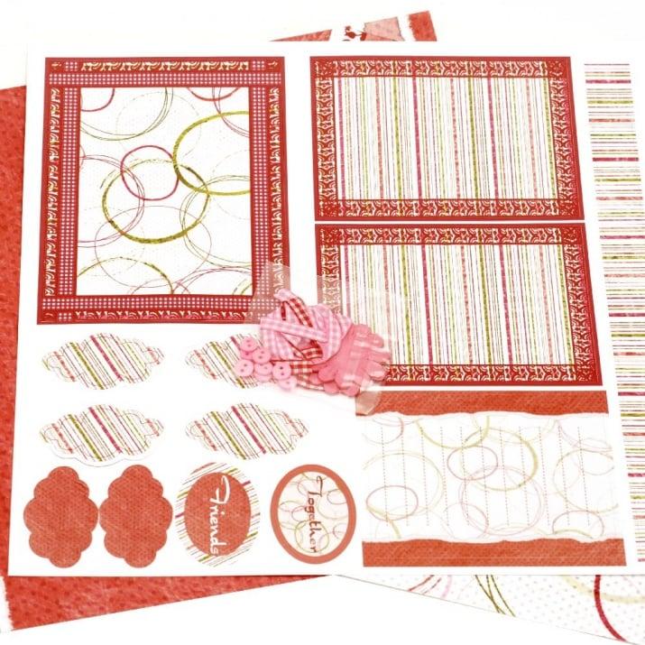 Скрапбук комплект за декорация Together-2 броя дизайнерска хартия 12x12 inch, 1 брой щанцовани форми, аксесоари