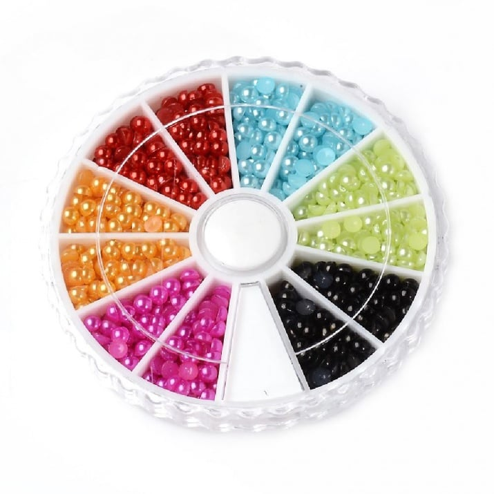 Елементи за декорация перла полусфера 3x1.5 мм 6 цвята в кутия ~1260 броя