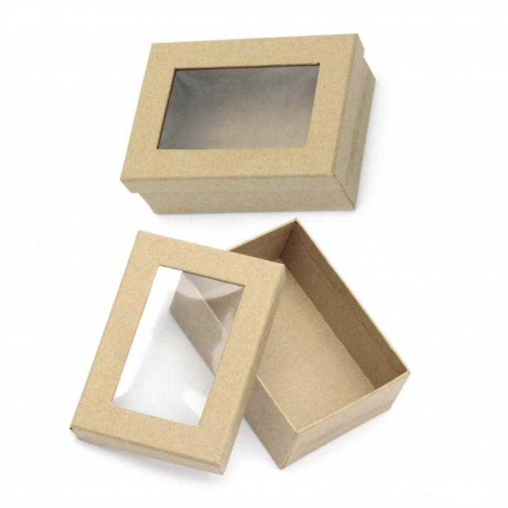 Кутия папие маше 115x79x40 мм правоъгълна с прозорче