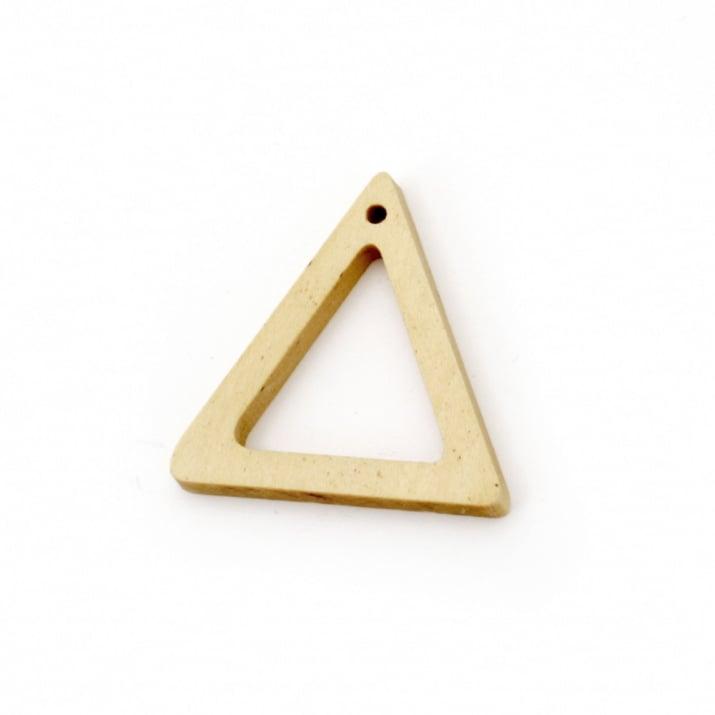 Висулка дърво за декорация триъгълник 35x34x4.5 мм дупка 2 мм цвят дърво - 5 броя