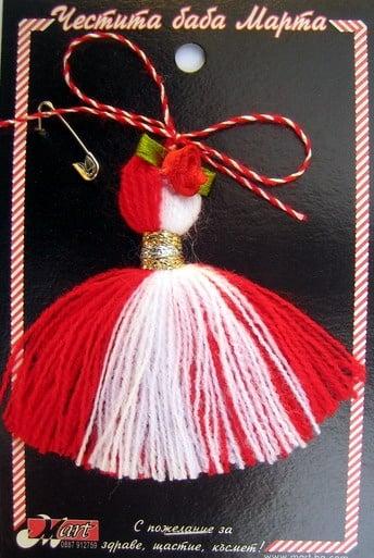 Мартеници ресна с роза 10 броя