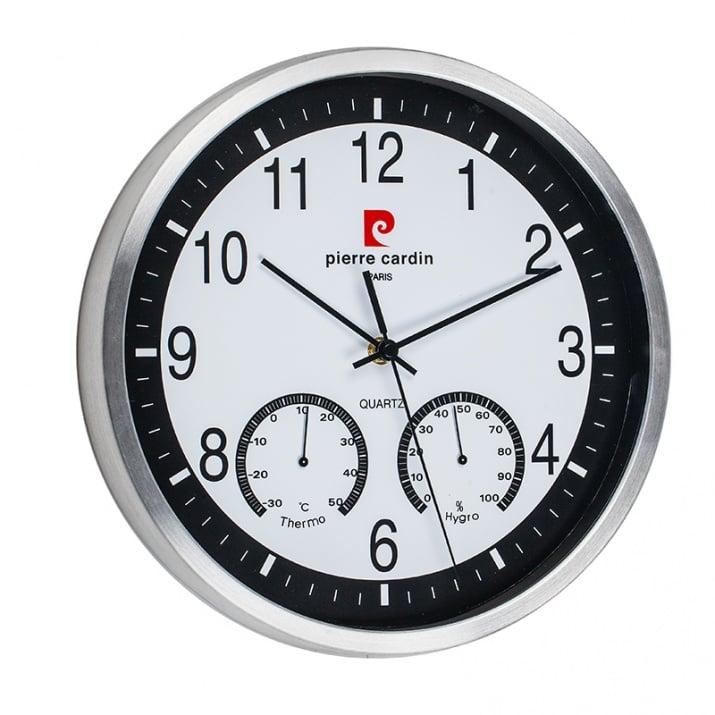 Стенен часовник Pierre Cardin - бяло и черно