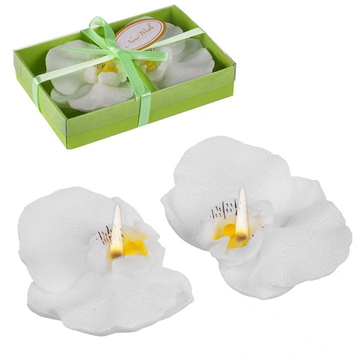 Свещ орхидея 2бр. бяла