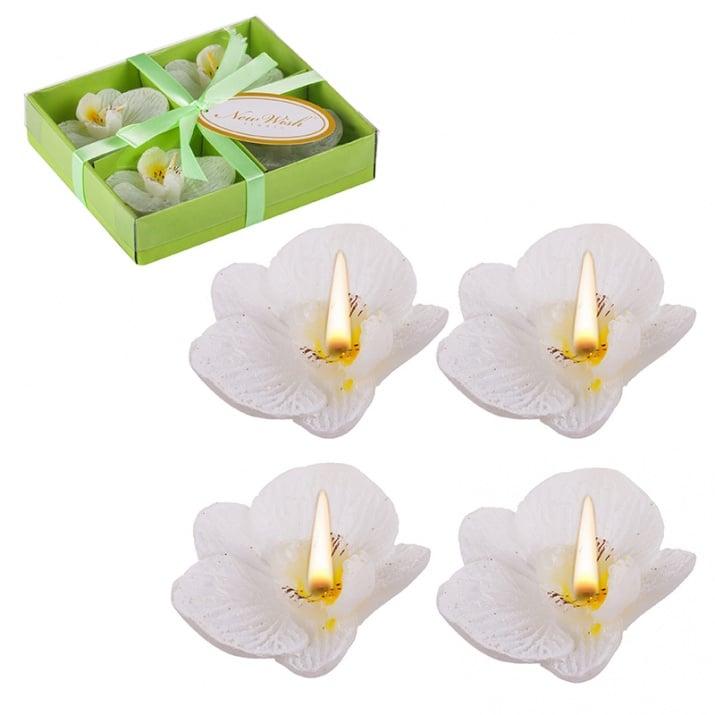 Свещ орхидея 4бр. бяла