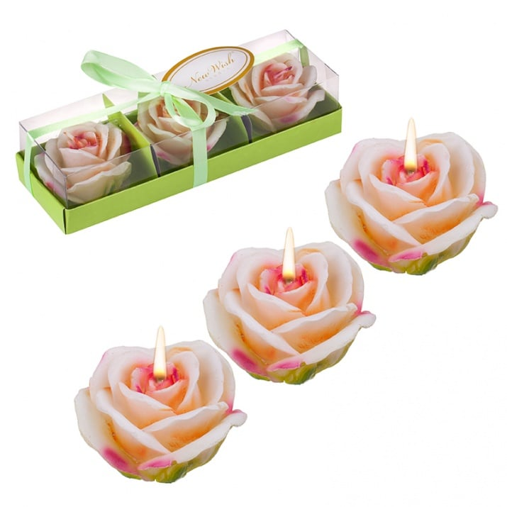 Свещ роза 3бр. крем