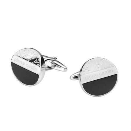 Копчета за ръкавели PIERRE CARDIN черно със сребърно