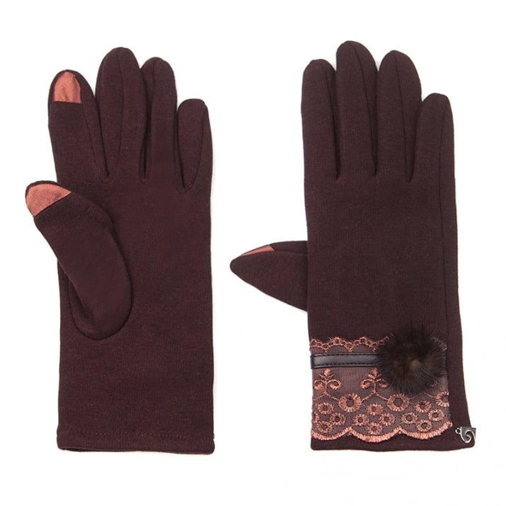 Тъмно кафяви ръкавици с дантела - PIERRE CARDIN