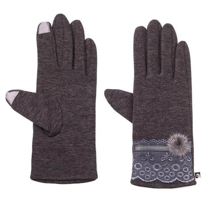 Тъмно сиви ръкавици с дантела - PIERRE CARDIN