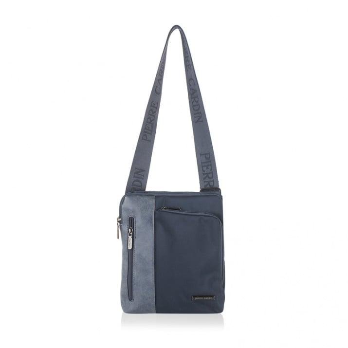 Мъжка чанта еко кожа и плат, синьо и синьо PIERRE CARDIN